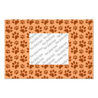Pastel orange dog paw print pattern photo print