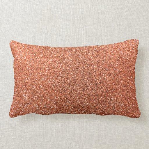 Pastel orange glitter pillow