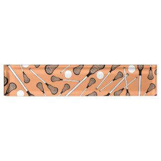 Pastel orange lacrosse sticks pattern name plate