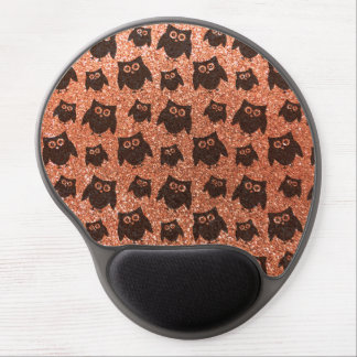 Pastel orange owl glitter pattern gel mouse pad