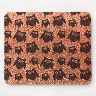 Pastel orange owl glitter pattern mousepads