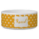 Pastel Orange Polka dot  bowl Cat Water Bowl
