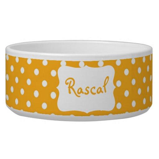 Pastel Orange Polka dot  bowl Pet Food Bowl