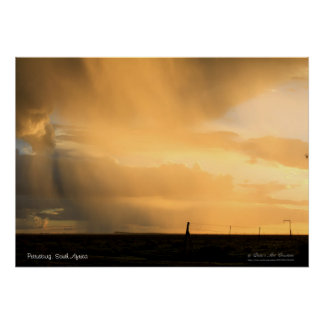 Pastel Orange Rainy Clouds Poster