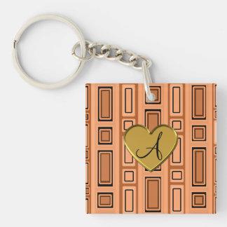 Pastel orange retro squares monogram Single-Sided square acrylic keychain