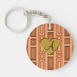 Pastel orange retro squares monogram Single-Sided round acrylic keychain