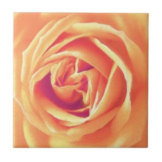 Pastel orange rose print ceramic tile