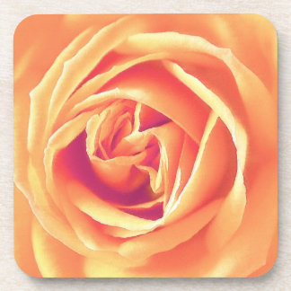 Pastel orange rose print coaster