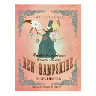 Pastel Orange  Save The Date-Map With Lovely Bird Postcard