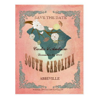 Pastel Orange Save The Date- Map With Lovely Bird Postcard
