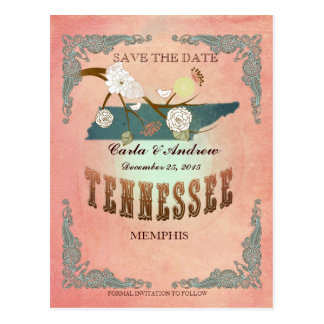 Pastel Orange Save The Date -Map With Lovely Birds Post Card