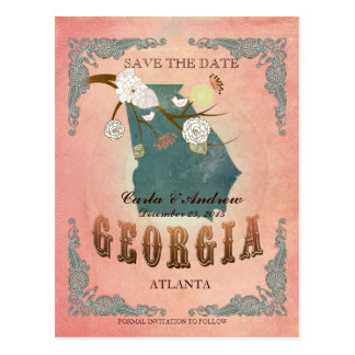Pastel Orange Save The Date-Map With Lovely Birds Postcard