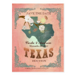 Pastel Orange Save The Date -Map With Lovely Birds Postcards