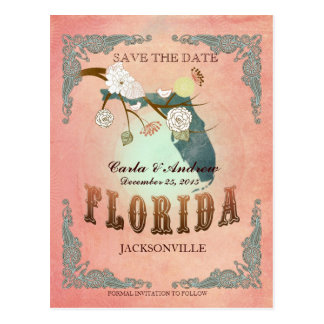 Pastel Orange Save The Date -With Lovely Birds Postcard