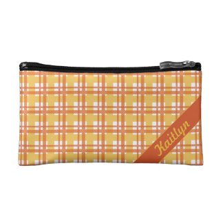 Pastel orange with yellow tartan pattern with name makeup bag