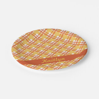 Pastel orange with yellow tartan pattern with name paper plate