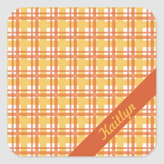 Pastel orange with yellow tartan pattern with name square sticker