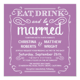 Pastel Orchid Eat Drink be Married Wedding Invites