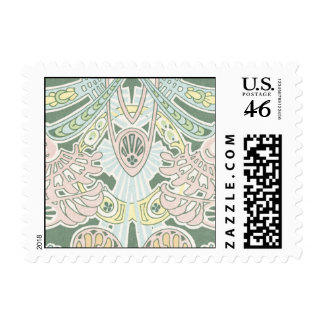 pastel ornate abstract art nouveau design stamp