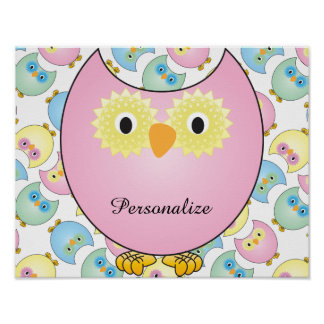 Pastel Owl Nursery Theme in Pink Poster