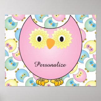 Pastel Owl Nursery Theme Print