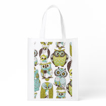 Pastel Owl Pattern Grocery Bag