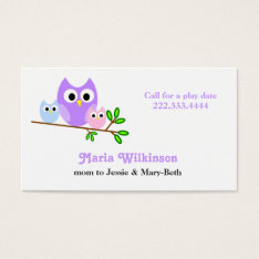 Pastel Owls Mommy Card at Zazzle