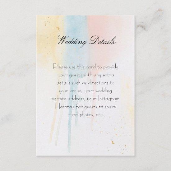 Pastel Paint Drip Pink Gold Blue Artistic Details Enclosure Card