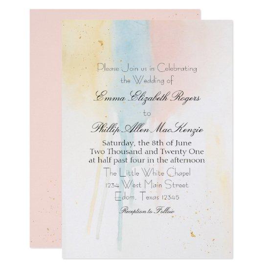 Pastel Paint Drip Pink Gold Blue Artistic Modern Invitation