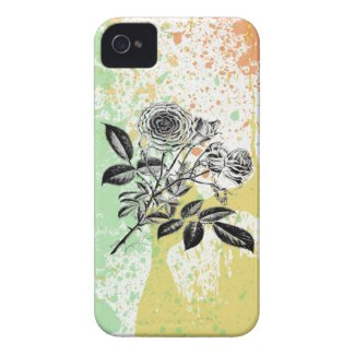 Pastel paint splatter roses baroque floral print iPhone 4 covers