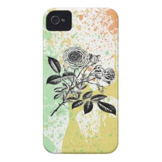 Pastel paint splatter roses baroque floral print iPhone 4 Case-Mate case