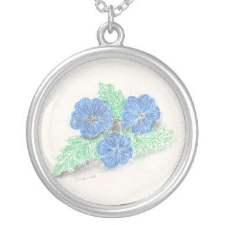 Pastel painting flowers blue necklace