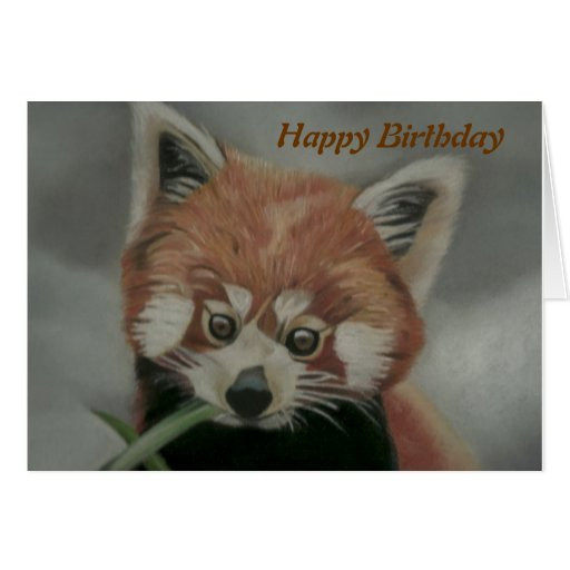Pastel painting of a Red Panda - Birthday Card