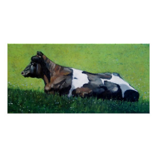 Pastel Painting of Dutch Holstein Cow Print