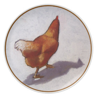 Pastel Painting of Strutting Chicken Plates