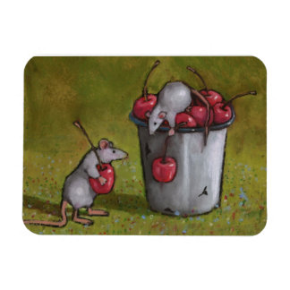 Pastel Painting of Two Mice Stealing Cherries Rectangular Photo Magnet