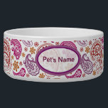 """Pastel Paisley #2 Bowl<br><div class=""""desc"""">Pastel Paisley design for your precious pet,  with space for their name.</div>"""