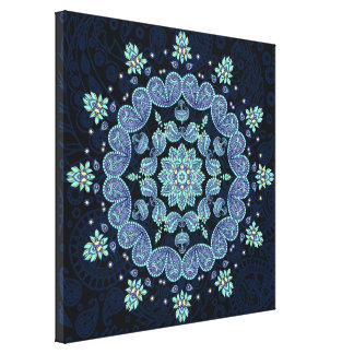 Pastel Paisley Kaleidoscope Mandala Canvas Print