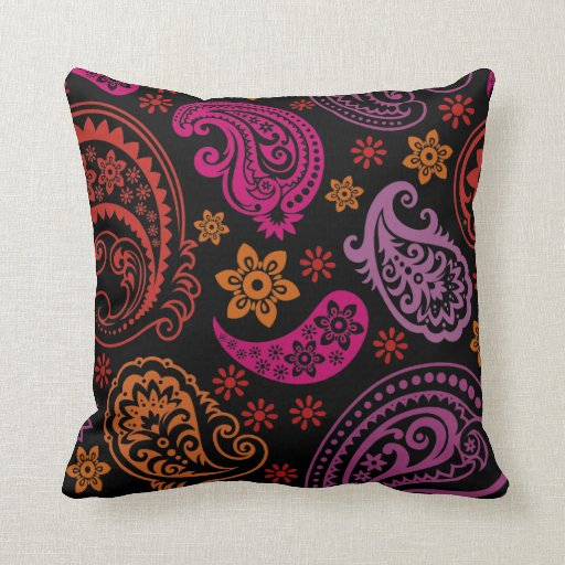 Pastel Paisley with Black Background #1 Pillow