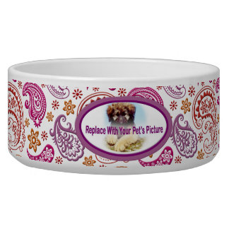 Pastel Paisley with Your Pet s Picture 2B Dog Food Bowl