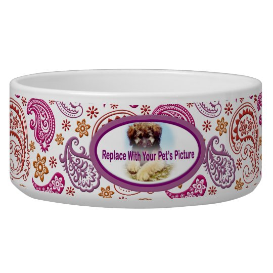 Pastel Paisley with Your Pet's Picture #2B Bowl