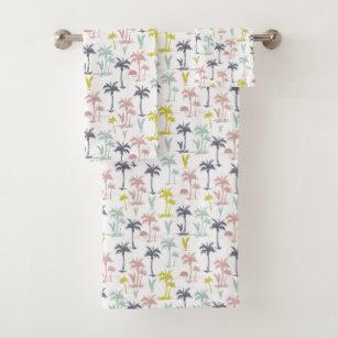 Pastel Palm Tree By The Beach Pattern Bath Towel Set