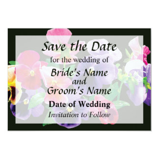 Pastel Pansies Save the Date 5x7 Paper Invitation Card