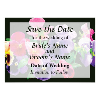 Pastel Pansies Save the Date Announcement