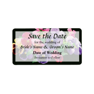 Pastel Pansies Save the Date Label