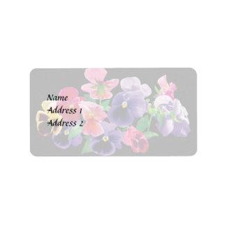 Pastel Pansies Wedding Products Label