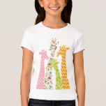 Pastel Pattern Giraffes Girl's Babydoll T Shirts