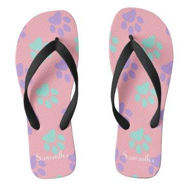 Beach Themed Pastel Paws Flip Flops