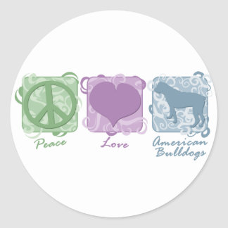 Pastel Peace, Love, and American Bulldogs Classic Round Sticker