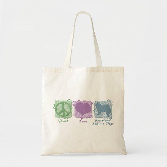Pastel Peace, Love, and American Eskimo Dogs Tote Bag